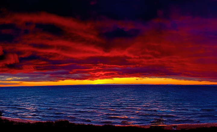 Red Sunset Over Lake Michigan Photography
