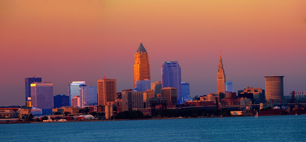 Lake Erie Sunset in Downtown Cleveland, Ohio