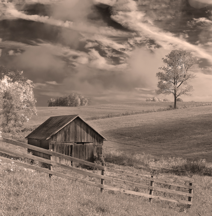 Ohio farmland and barn sepia photography wall art