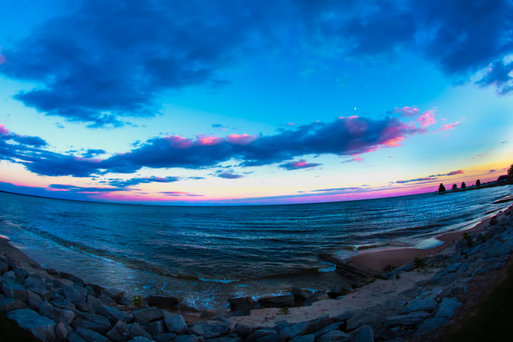 early morning pink and blue sunrise over Lake Huron Beach Pictures