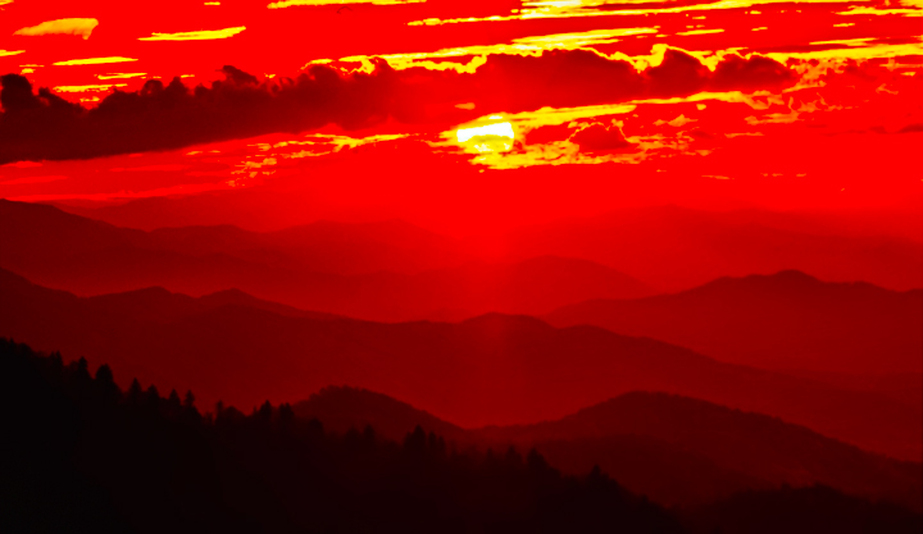 Red Sunset Waterknob Lookout Great Smoky Mountains