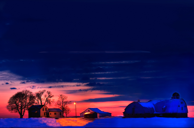 Winter Snow Sunset Delaware, Ohio Farm Photography
