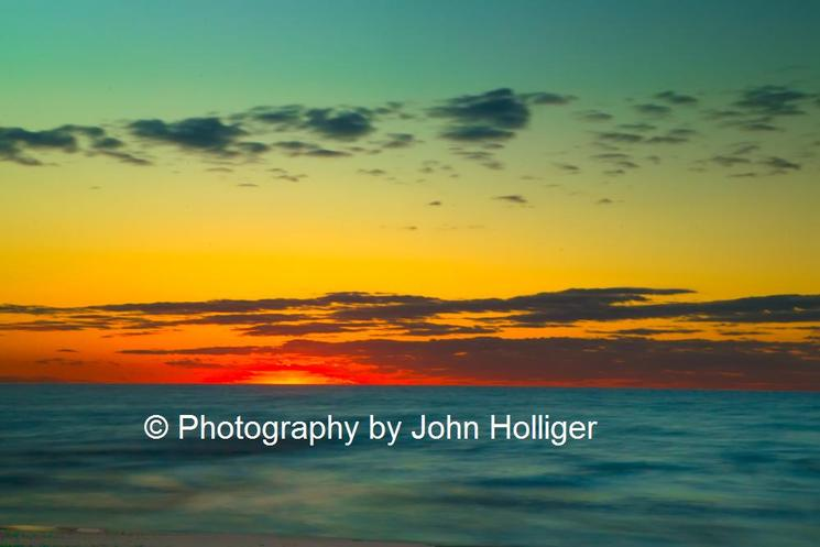 Ludington Michigan Beach Blue Lake Michigan Orange Sunset