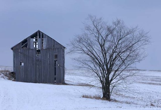 Old Gray Barn in Winter Snow Ohio Photography